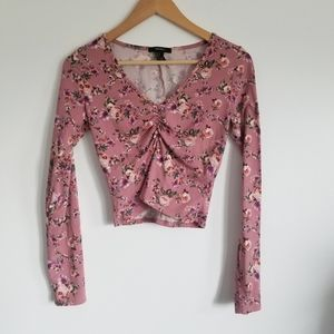 Forever 21 floral ruched crop long sleeve top